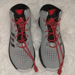 ADIDAS Grey & Black High Tops with Red Lock Laces